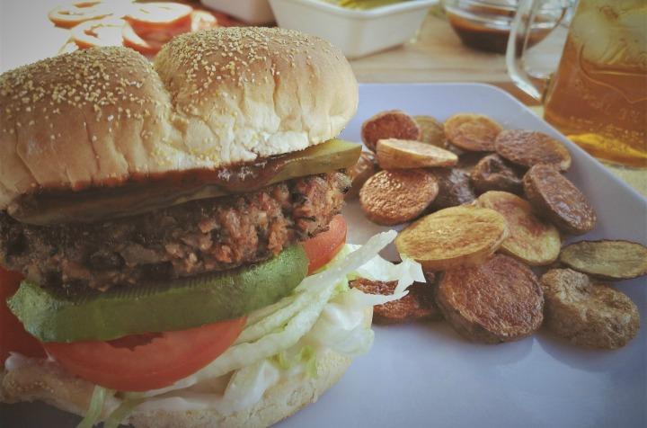 Barbecue vegan burger